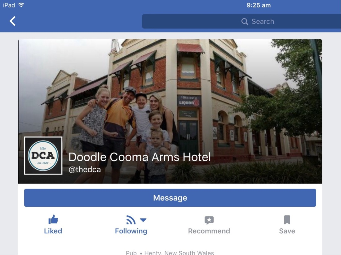 Facebook business Page of Doodle Cooma Arms Hotel, Henty, NSW